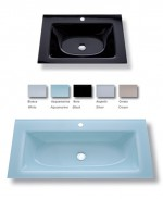 GLASS WASH BASINS AND GLASS TOPS.